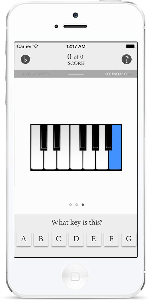 Music flashcards, C key