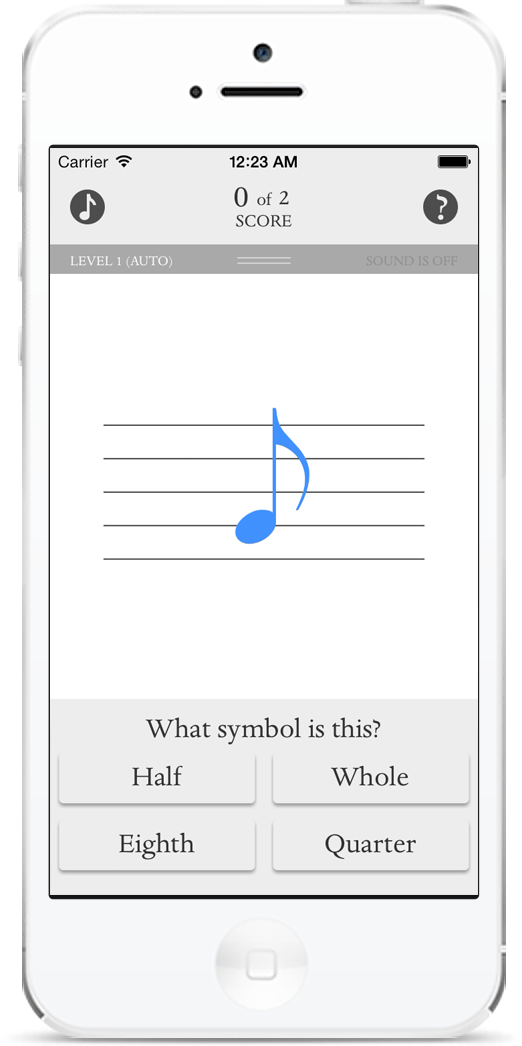 Music flashcards, G teble note